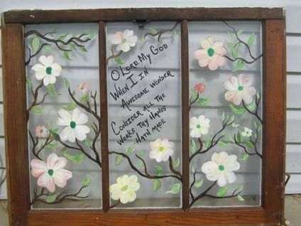 Painted Old Windows 50 Hand Painted Antique Windows For Sale In Sevierville Tennessee Window Painting Hand Painted Windows Hand Painted