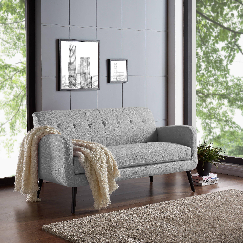 Handy living kingston grey upholstery mid century modern dove sofa grey linen