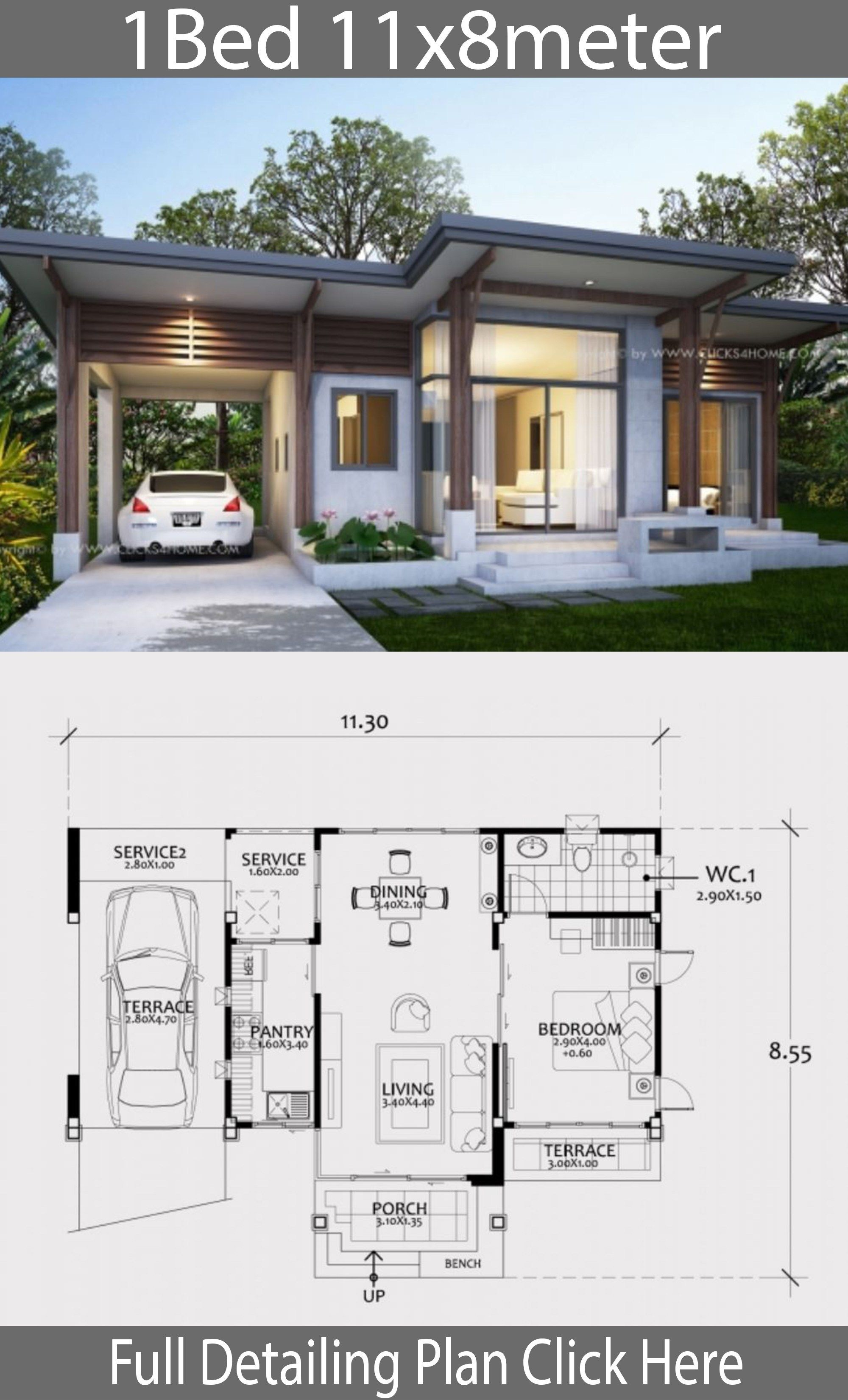 Home design plan 11x8m with One Bedroom | Modern bungalow ...