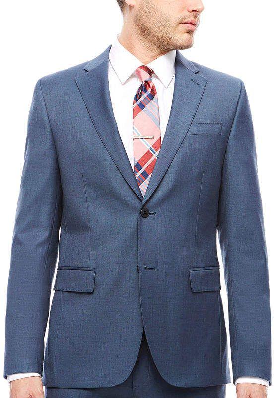 9e06be8cd3c Jf J.Ferrar Stretch Blue Sheen Sharkskin Suit Jacket- Slim Fit ...