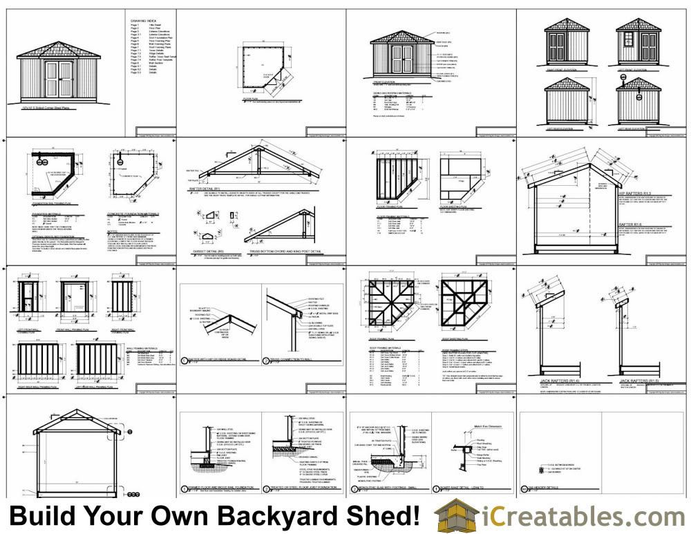 10x10 5 Sided Storage Shed Plans Example Corner Sheds Storage Shed Plans Shed Plans