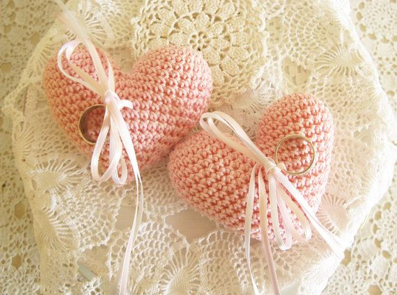 Pink Wedding Ring Pillow Heart Ring Bearer Crochet Ring Pillow