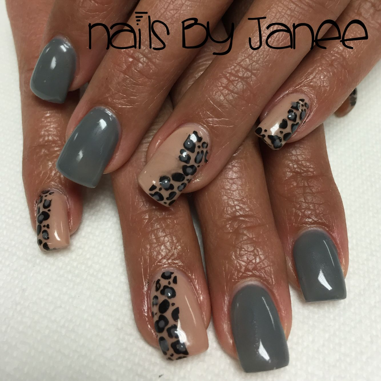 Grey and nude gel nails by Janee. A wild hair salon Reno Nevada ...