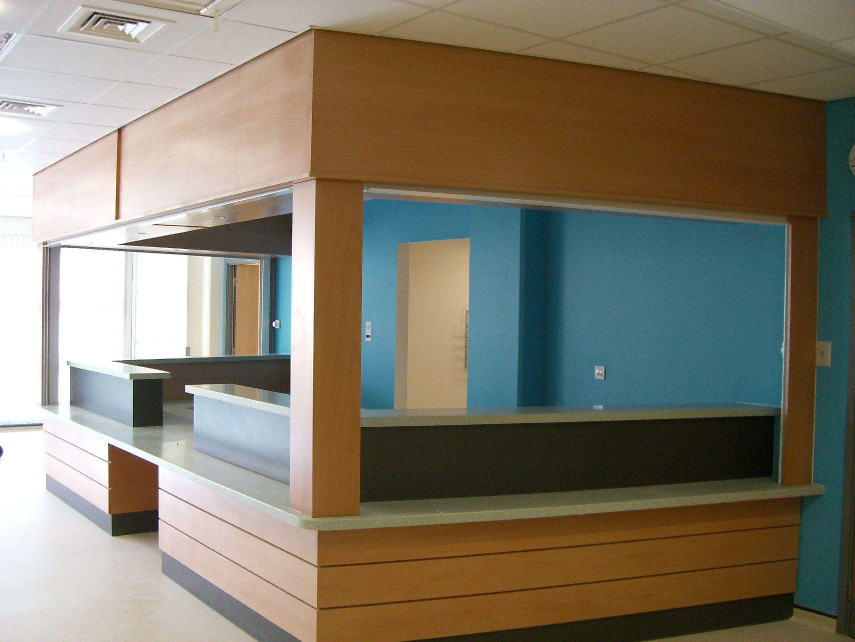 Home gt reception desks gt 8 curved maple glass top reception desk - Local Hospital A E Reception Desk In Beech Veneer With Bulkhead Reception Deskshospitalsreceptions