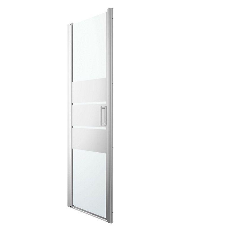Cooke Lewis Beloya Shower Door With Pivot Door Mirror Glass W 760mm Diy At B Q Shower Doors Pivot Doors Mirror Door