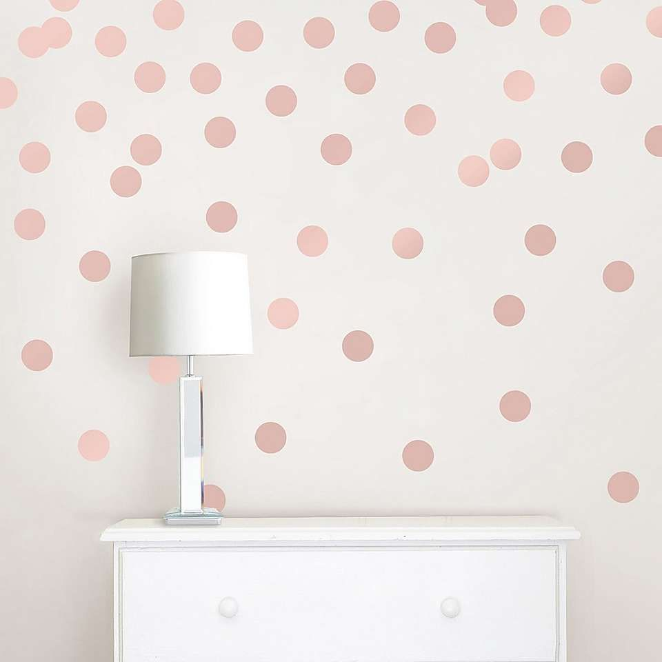 Wallpops Self Adhesive Rose Gold Effect Confetti Dots Rose Gold