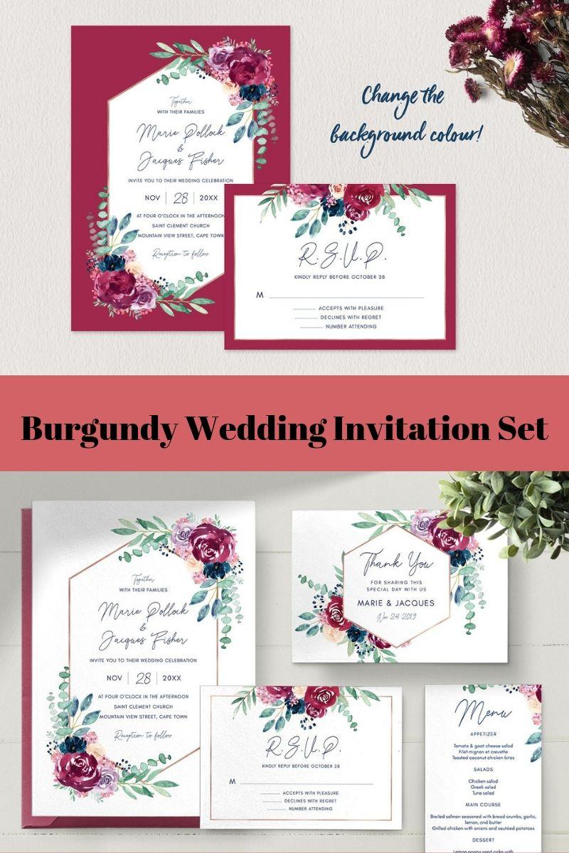 Burgundy Wedding Invitation Set Wedding Invitation Sets Wedding Invitations Burgundy Wedding Invitations