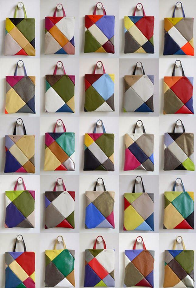 Sacolas-feitas-com-retalhos-de-couro-1   bolsas   Pinterest ...