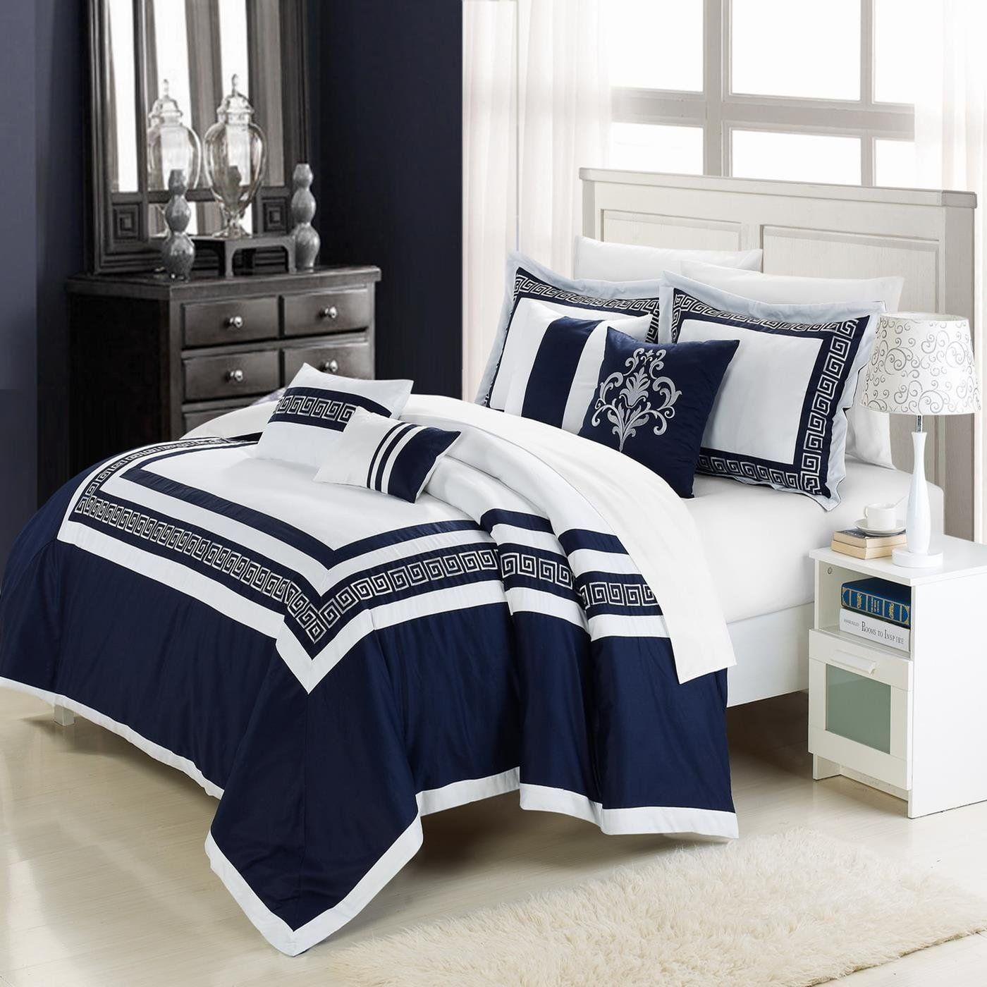 white bedding with blue accent white and navy blue embroidered comforter set with accent. Black Bedroom Furniture Sets. Home Design Ideas