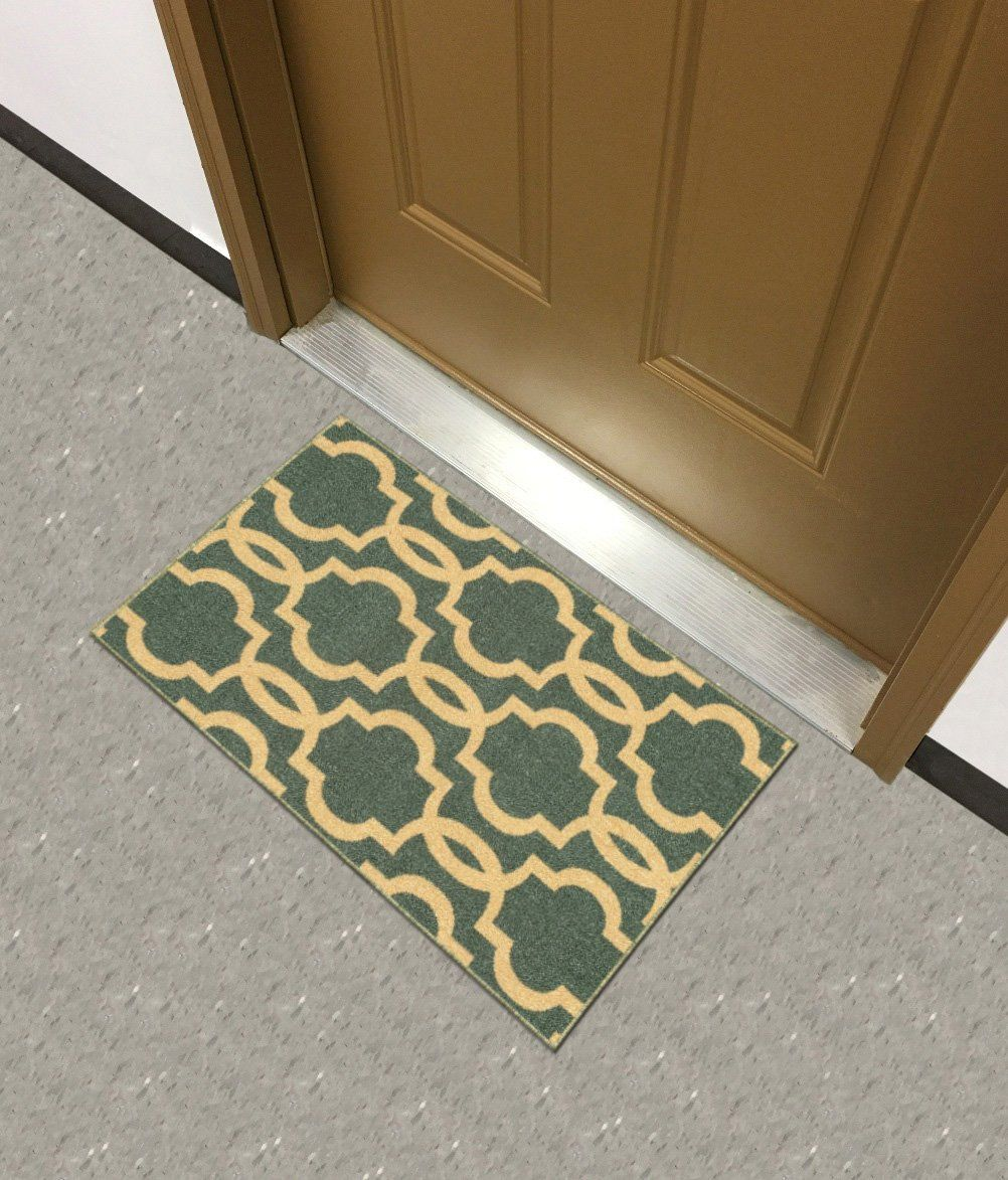 Kapaqua Rubber Backed Mat Fancy Moroccan Trellis Teal Blue Moroccan Trellis Teal Blue Door Mat
