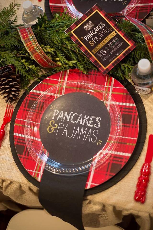 Pancake Pajama Party Plates Christmas party themes