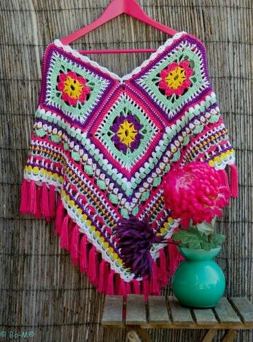 Bo-M granny square poncho - inspiration - make tassels instead of fringe