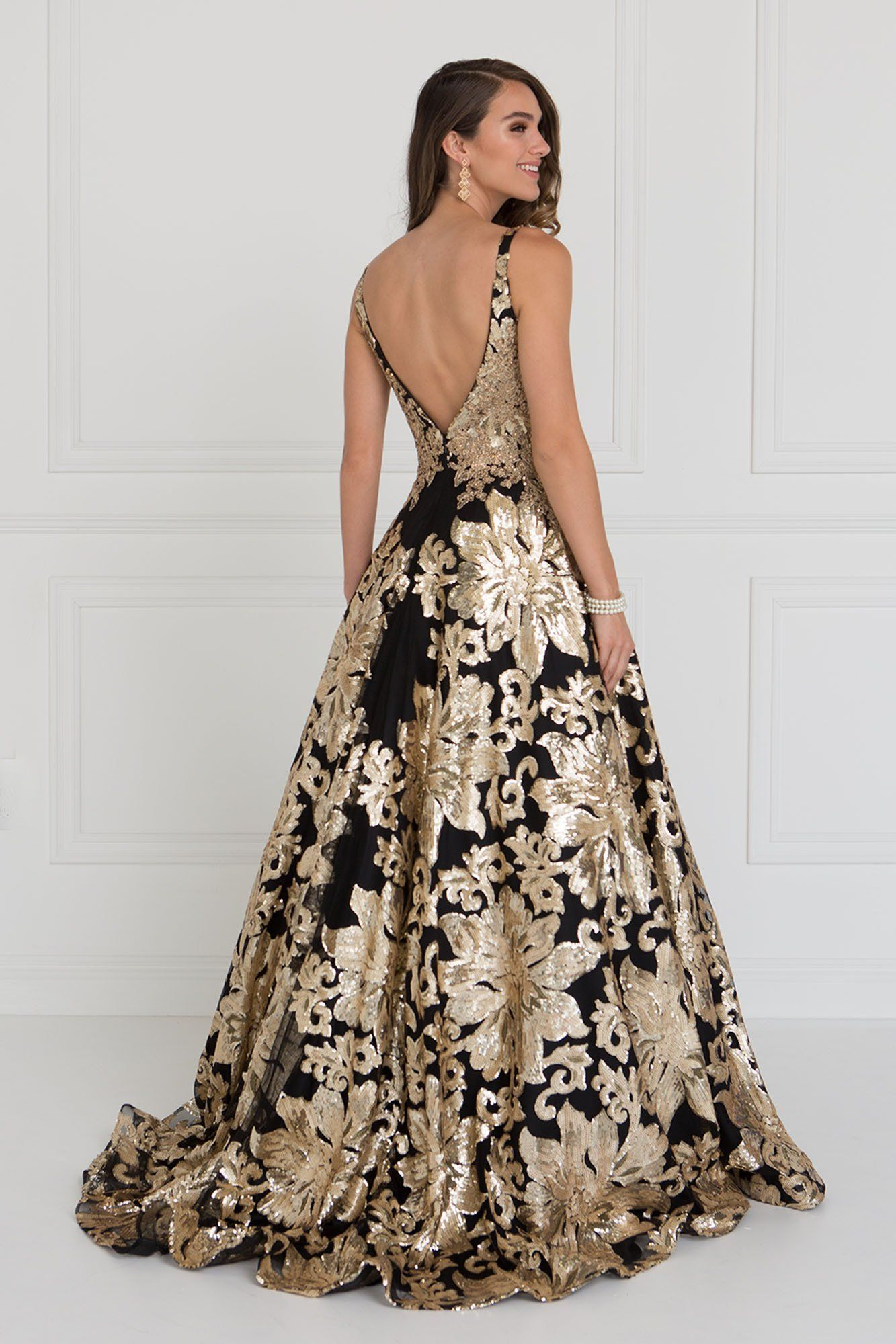 d5cb628aa243d GLS 1511 - Lace Applique A-Line V-Neck Plunging Back Ball Gown in ...