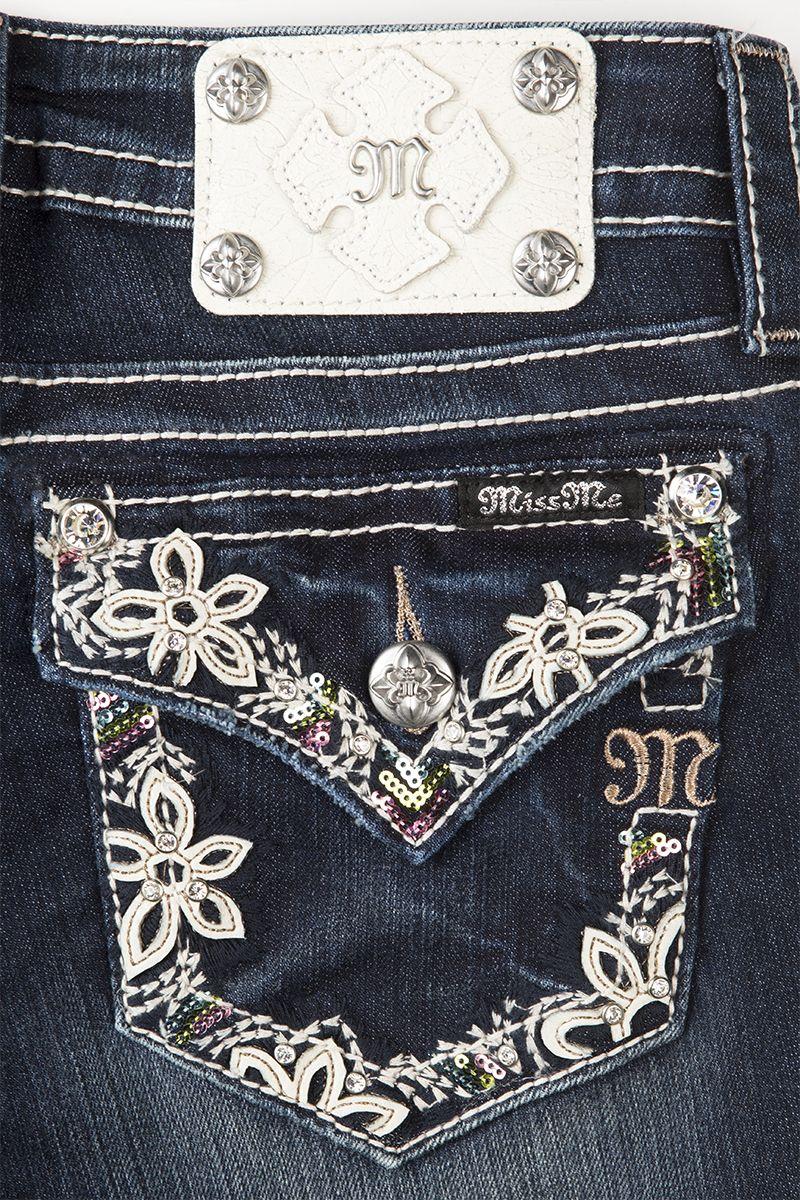 1a19526f40a Botanical Border Boot Cut Miss Me Jeans