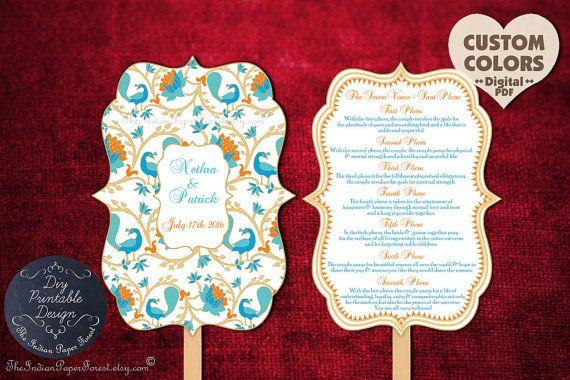 Printable Indian Wedding Ceremony Program Fan Pdf Hindu Saat Phere Wording Diy Order Of Service Template