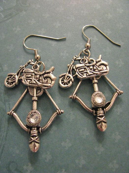 THE WALKING DEAD  Daryl Dixon  Cross Bow Earrings by ZivaKreations, $11.97