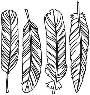 Detailed drawing gives this quartet of feathers lots of beautiful, natural flair. Downloads as a PDF. Use pattern transfer paper to trace design for hand-stitching.