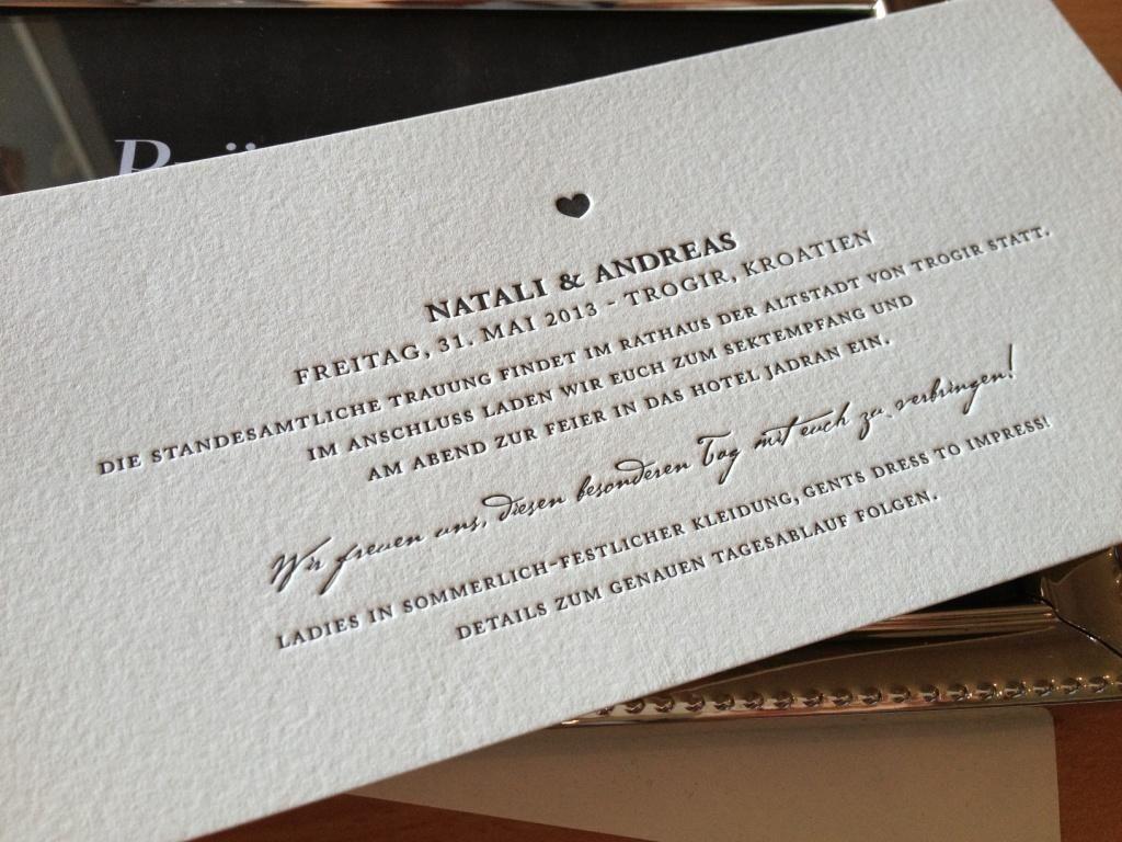Hochzeitseinladungen letterpress