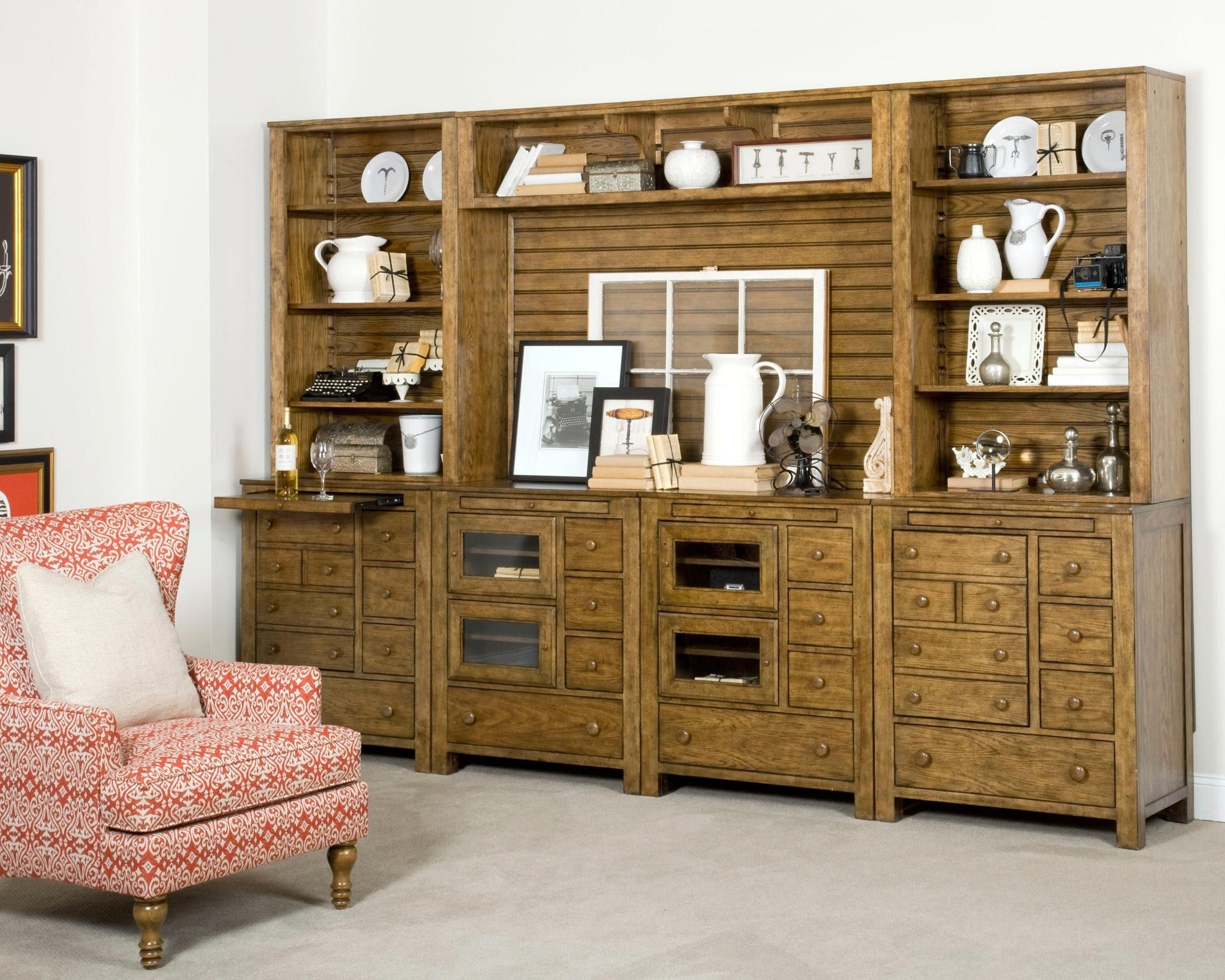 Delightful New Vintage 8 Piece Entertainment Center In Oak | Broyhill | Home Gallery  Stores