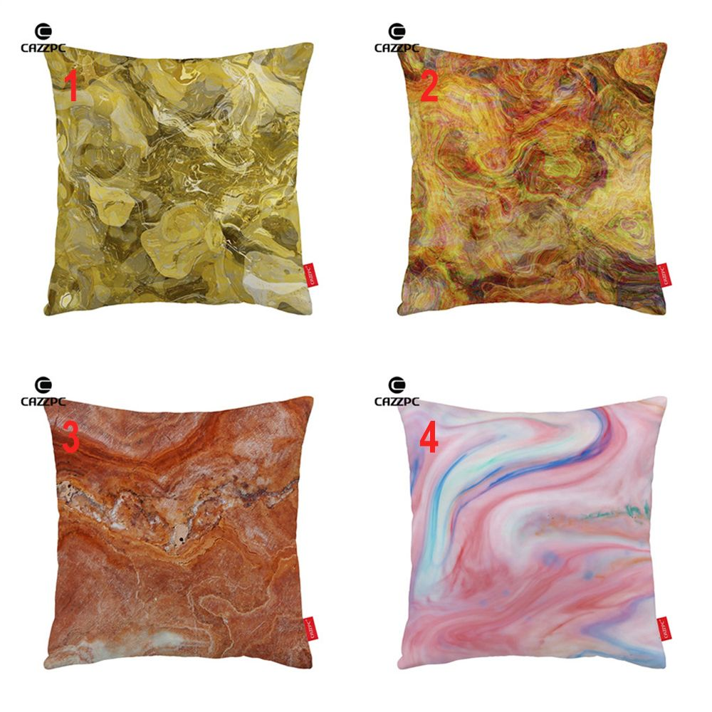 Fashion yellow red pink marble agate granite print car decorative