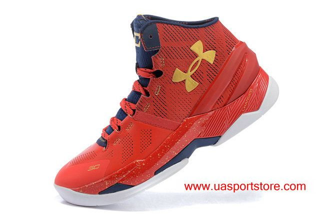 uk availability 2349f ece19 UA Curry 2 Under Armour Chinese Red Gold Dark-blue Basketball Shoes For Men