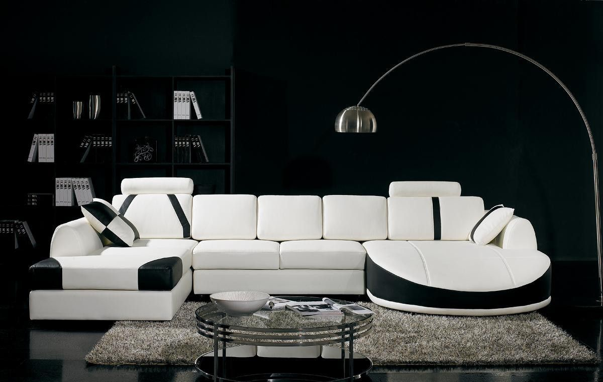 Divani Casa T57 Modern White and Black Bonded Leather Sectional ...
