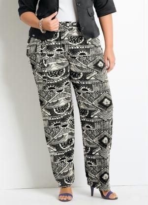 Calça Pantalona (Estampa Étnica) Plus Size  45fd08ddc9c