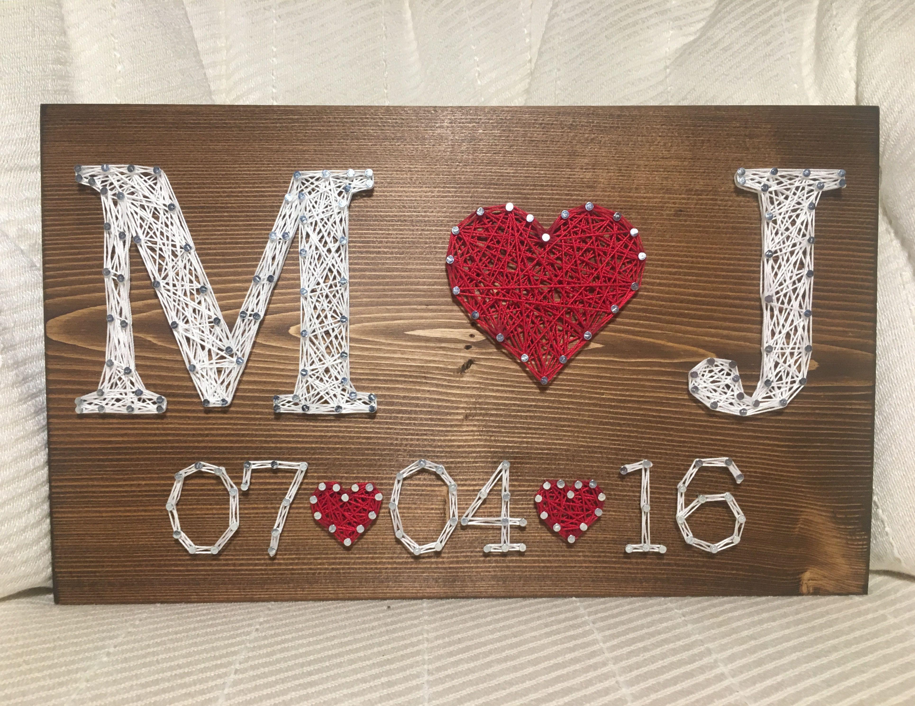 Wedding/Anniversary String Art Sign, Date Art, Wall decor ...