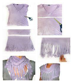 Katis: DIY Recycled T Shirt fringed scarf // DIY recycelter T Shirt Fransenschal