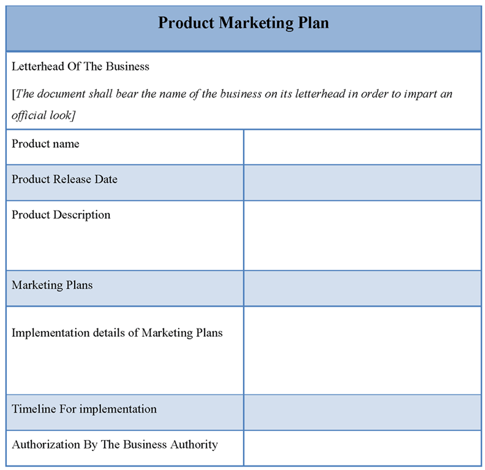 Product Marketing Plan Template Marketing plan template