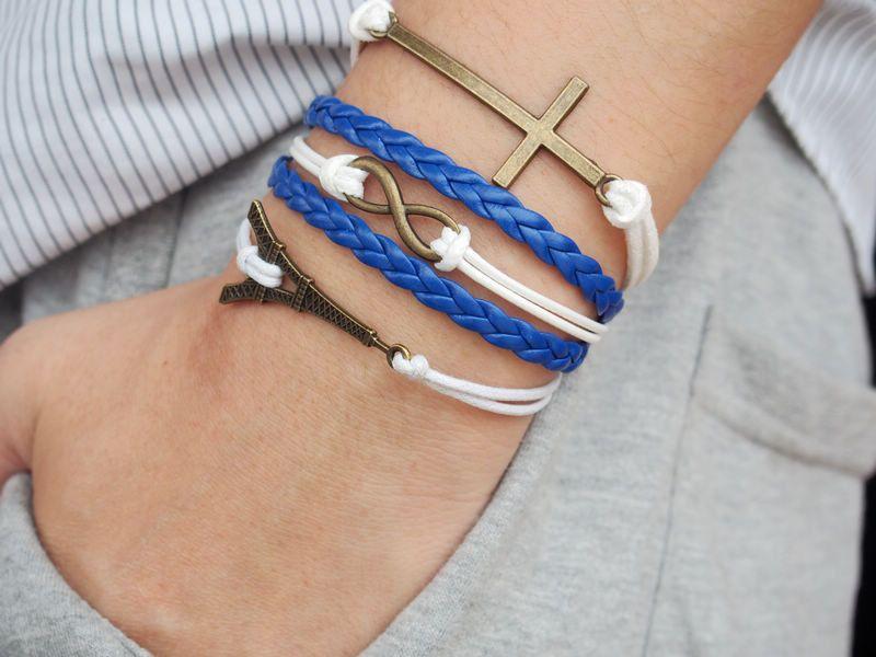 Cross Bracelet, Infinity Bracelet, Infinity Cross, Eiffel Tower Bracelet -Wax Cords Blue Leather Braided Personalized Friendship Jewelry. $6.99, via Etsy.