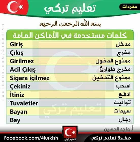 كلمات مستخدمة في الأماكن العامة باللغة التركية Learn Turkish Learning Turkish