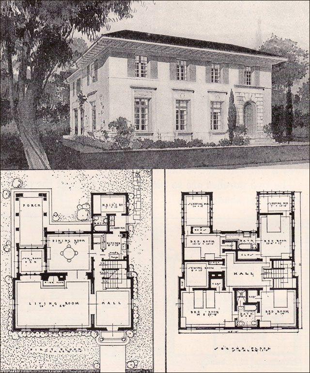 1916 Garden City Plans Design 35 House Plans Vintage House Plans Mediterranean House Plans