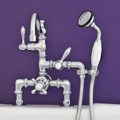 Strom Plumbing by Sign of the Crab Double Handle Deck Mount Faucet with Handheld Shower Finish: