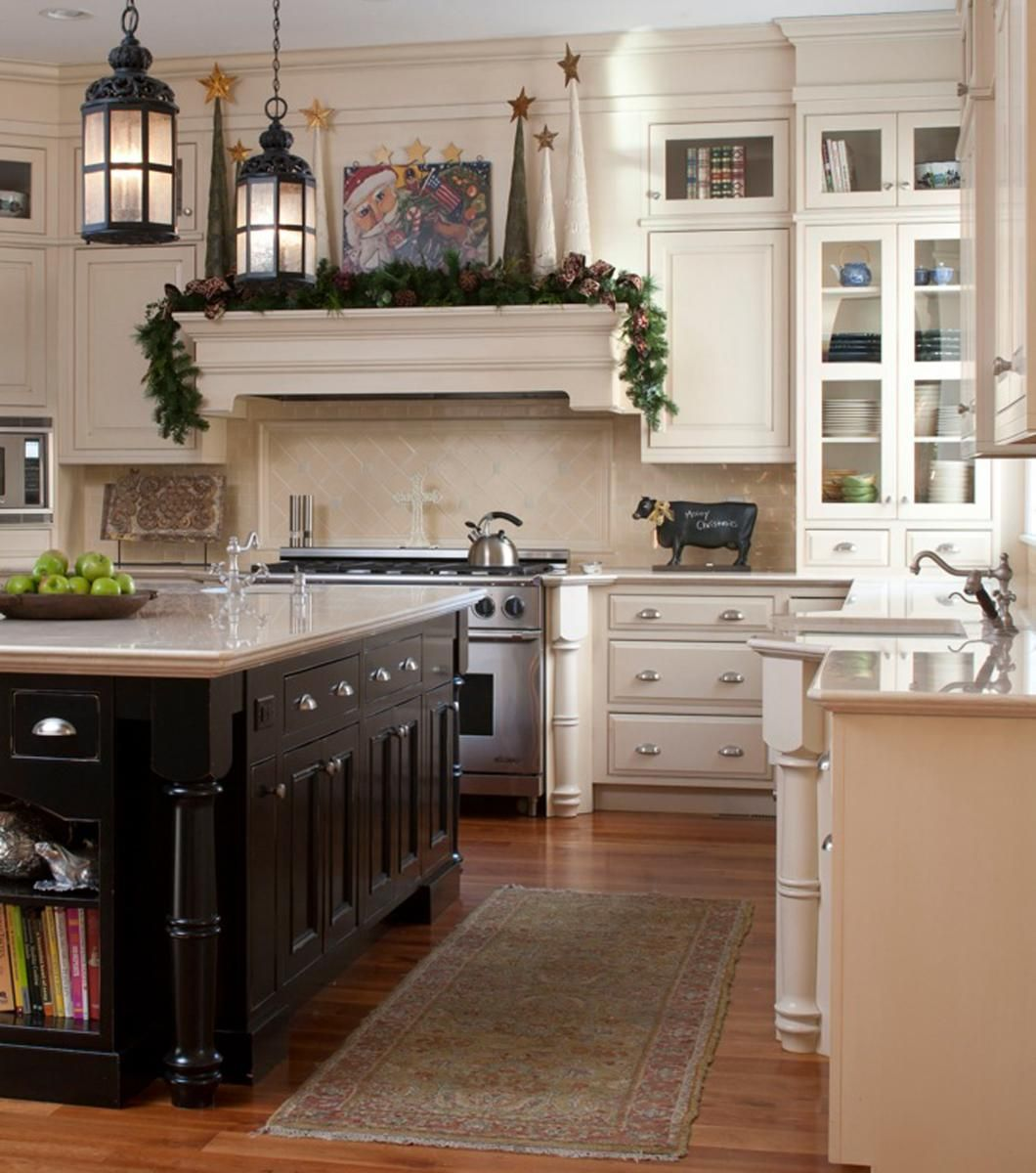 "Black Eiffel Another Gorgeous White Kitchen: Love The ""mantel"" Above The Stove"