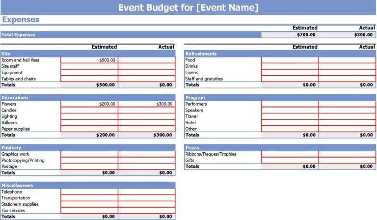 6 Event Budget Templates Event Planning Budget Event Budget