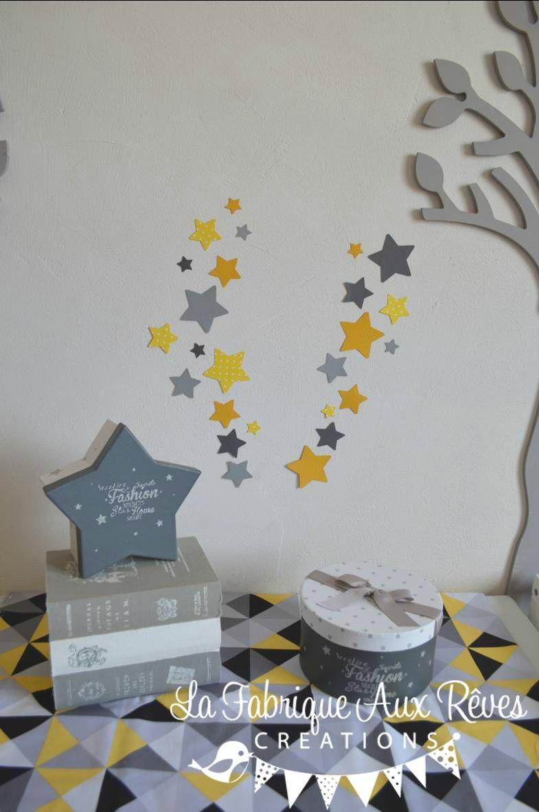 Chambre bebe jaune moutarde : ... chambre bébé étoiles jaune ...