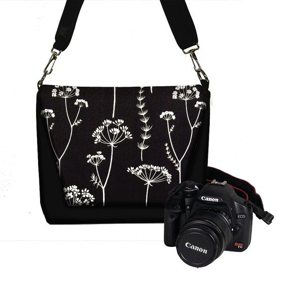 Digital Slr Camera Bag Dslr Camera Bag Purse Womens Camera Bag Case  Zipper Padded DELUXE Simplicity Black White