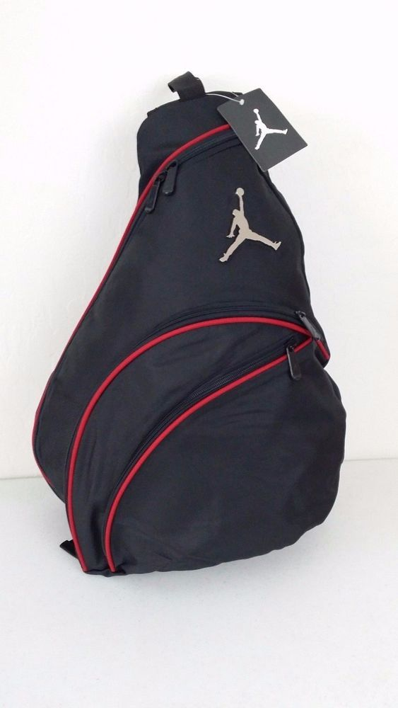 NWT NIKE JORDAN Jumpman Sling Backpack Black Red Accents Gym Book Bag  9A1134-391