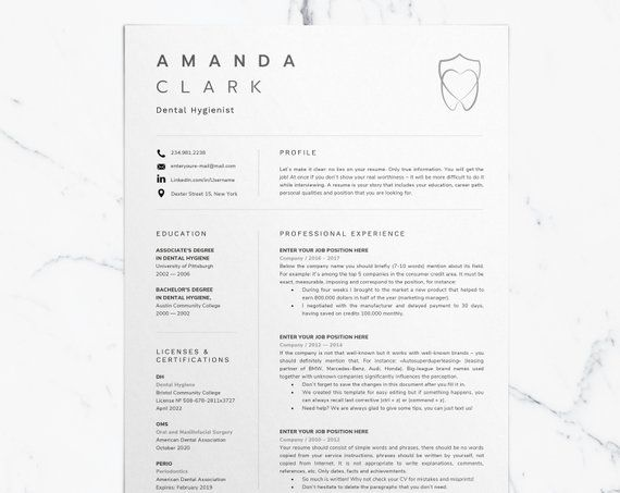 Dental Assistant Resume for Word, Dentist CV Template, Dental - example of dental hygientist resume
