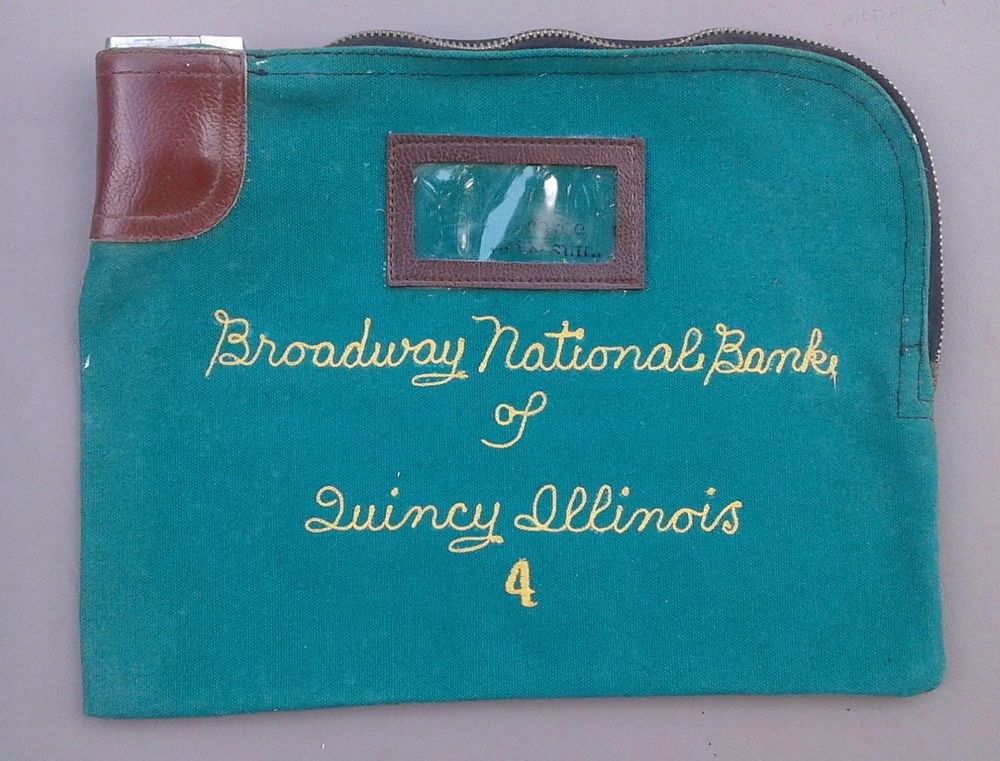 Vintage Canvas Money Bag Broadway National Bank Of Quincy Il