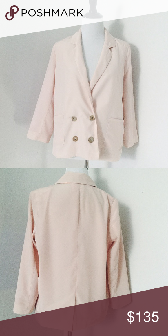 Lush Blush Blazer Blush blazer in blush pink tone. Worn once, great condition. Has 3 buttons and shoulder pads and is lined Lush Jackets & Coats Blazers