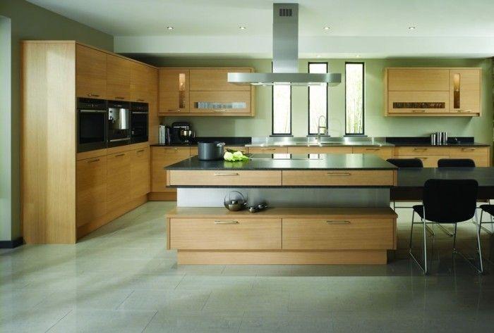 wohnideen küche hellgrüne wandfarbe und hölzerne küchenschränke | dd ...