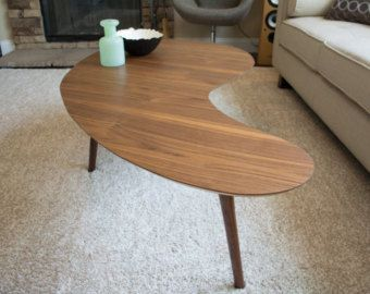 Mid Century Modern Coffee Table Kidney Bean Shaped Handmade Out Of Walnut Plywood Extra Large Version There Are Many Versions The