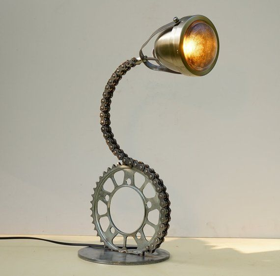 Chain E Steel Foot Industrial Table Lamp Upcycled Desk Lamp Motorcycle Lamp Chain Lamp Recycled Steel Chain Table Lamp Desk Lamp Industrial Table Lamp