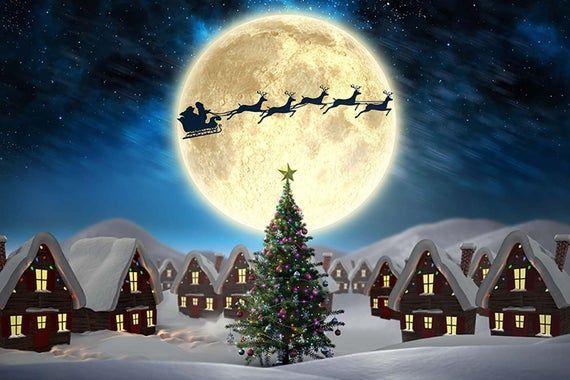 Merry Christmas Photography Backdrops Santa Sleigh Photo Background Pines Snow Landscape Moon Window Paper Happy Holidays Photo Backdrop #fullmoontarotspread