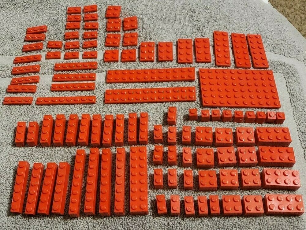 LEGO Lot of 2 Red 2x16 Flat Building Flat Plate Pieces