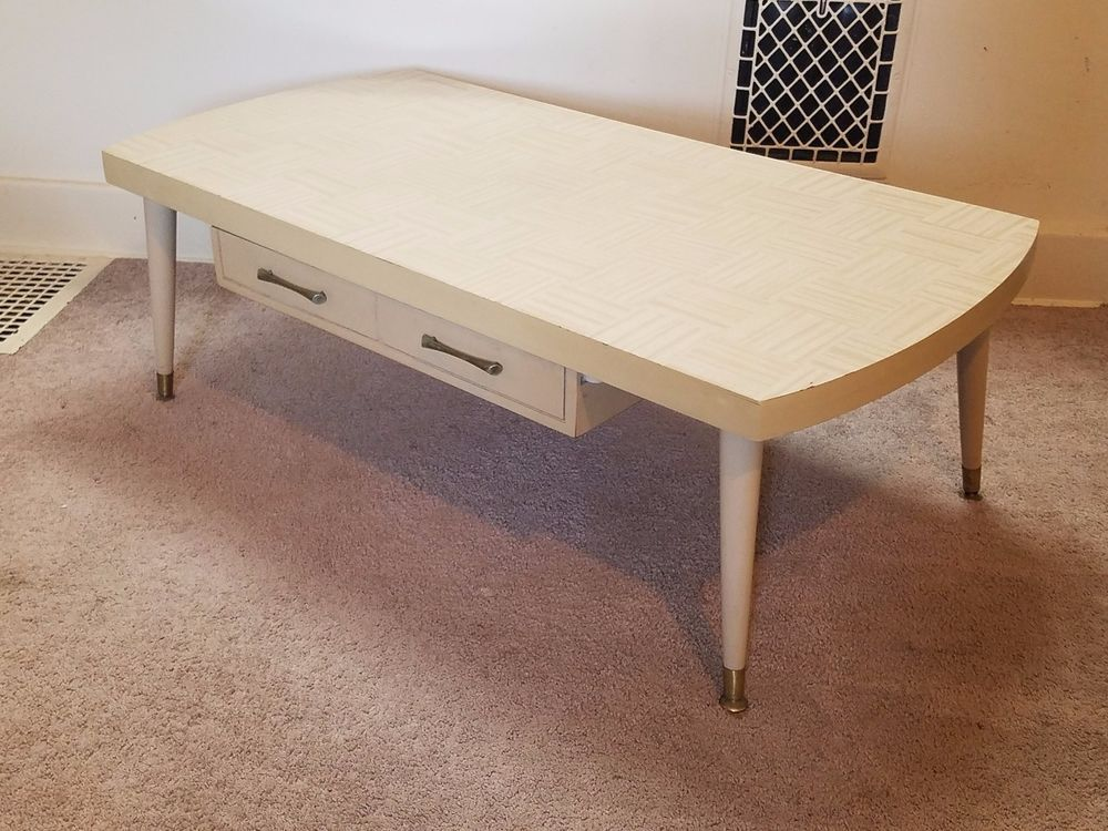 Vintage Mid Century Modern Blonde Wood Retro Coffee Table Drawer Ivory 46 1950s Furniture Coffee Table Home Decor