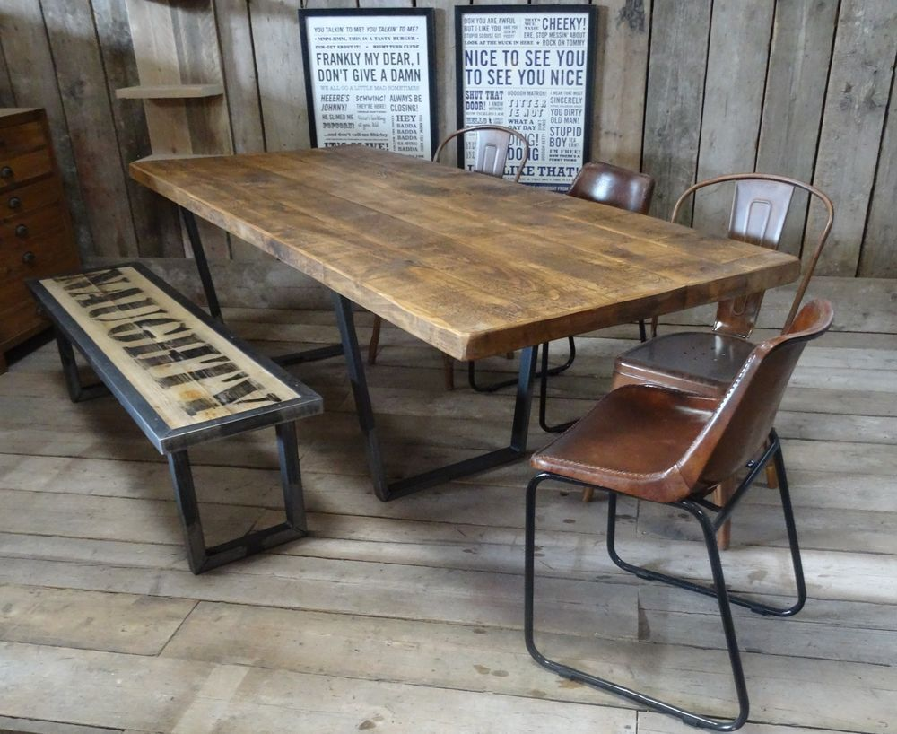 John lewis calia style extending vintage industrial reclaimed top dining table vintage - Industrial kitchen tables ...
