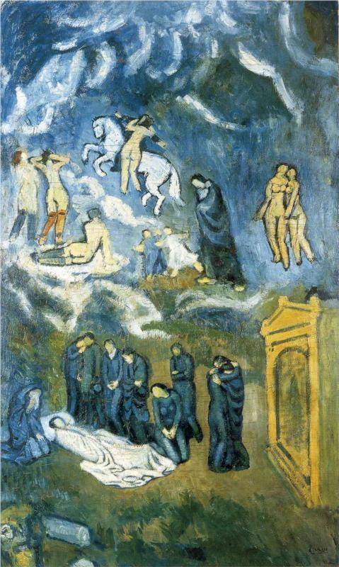 """Pablo Picasso. """"Evocation (The Burial of Casagemas) 1901: www.professionalartistmag.com"""